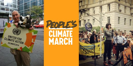 Dr. Jane Goodall, Evangeline Lilly et les Queers for the Climate à la « People's Climate March ».