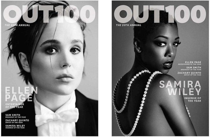 Ellen Page en couverture de Out magazine