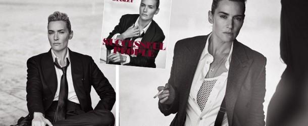 On adore ! Kate Winslet en couverture de Uomo Vogue