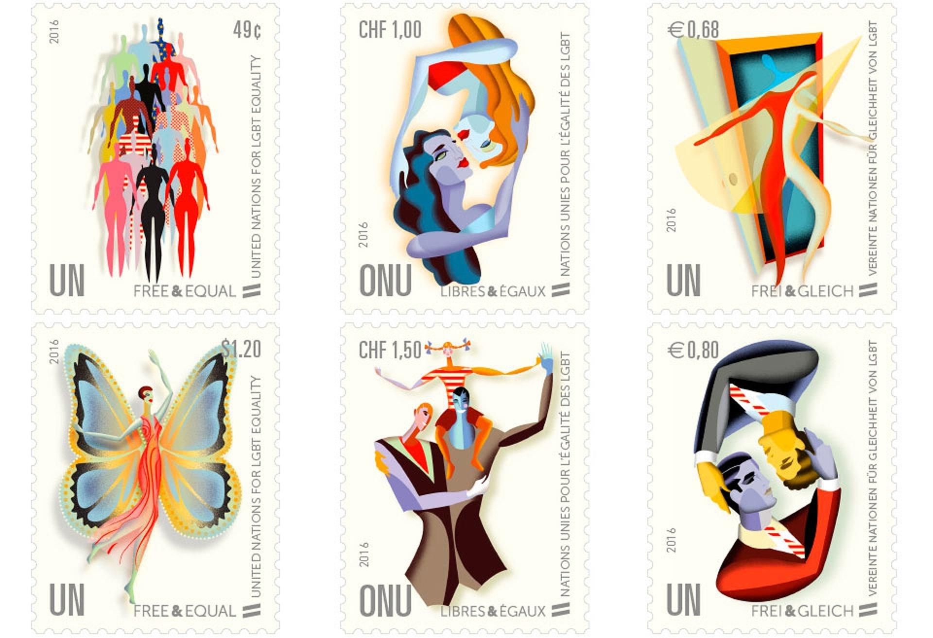 Libres et égaux, les timbres de l'ONU pour l'égalité des LGBT