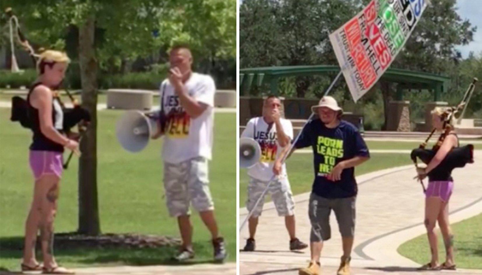 La vidéo du jour : une lesbienne s'oppose à un prêcheur homophobe avec… sa cornemuse