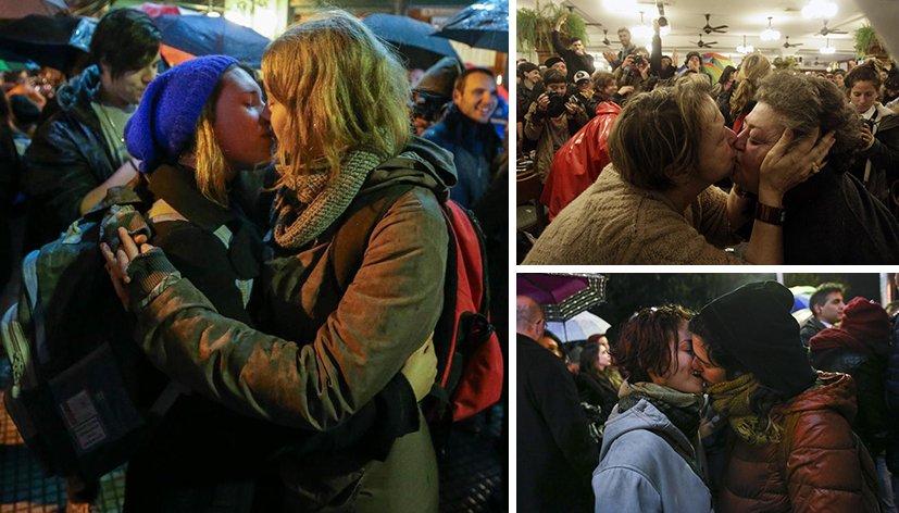 Buenos Aires : Un kiss-in géant en soutien à un couple lesbien