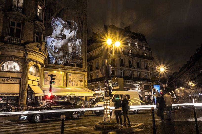 100 projections de baisers dans les rues de Paris