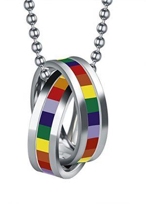 Pendentif anneaux rainbow