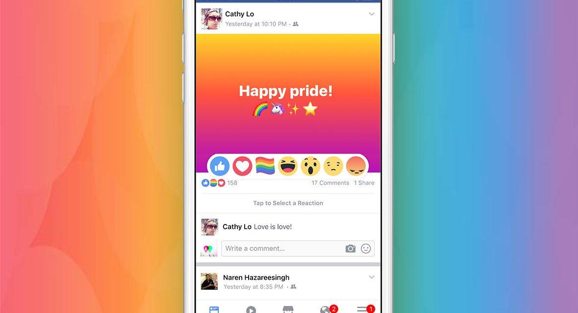Réagissez avec Fierté sur Facebook avec le nouveau bouton «Pride »