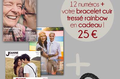 Abonnement de 1 an + (n 48, 49 et 50 offerts) + Bracelet cuir tressé rainbow