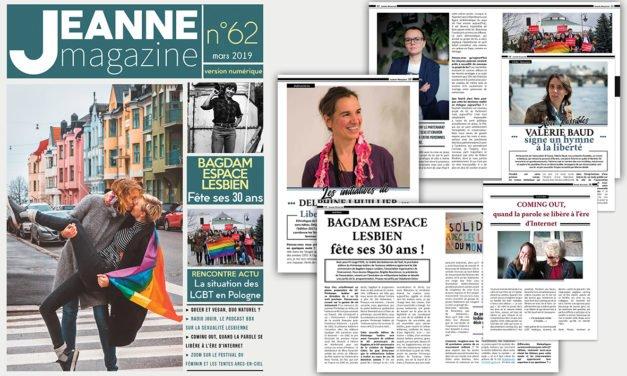 Sortie de Jeanne Magazine n°62 – mars 2019