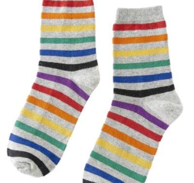 Chaussettes grises bandes rainbow