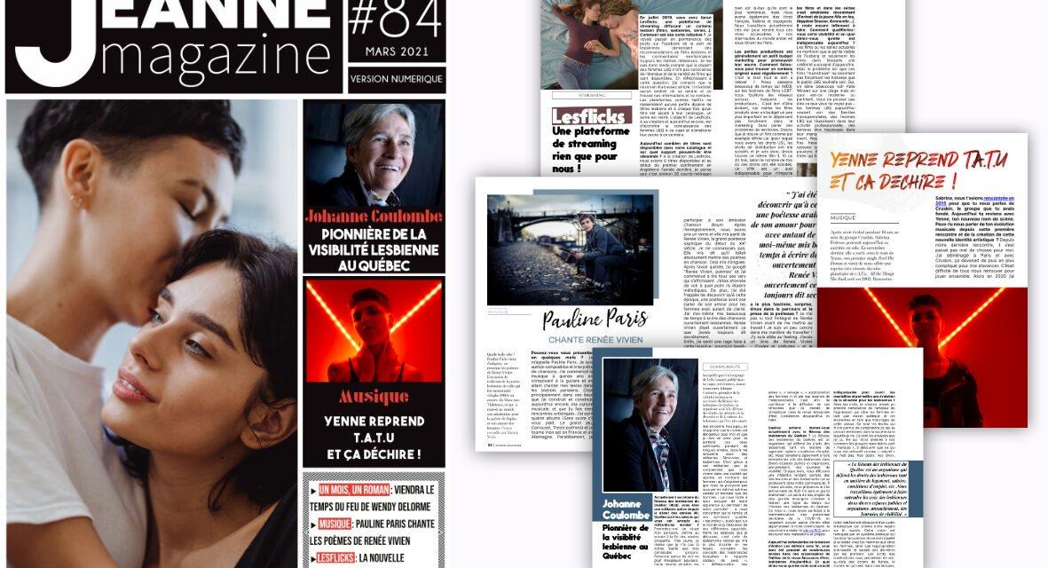 Sortie de Jeanne Magazine n°84 – Mars 2021